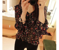 Cute Women Shirts Chiffon Print Ghost Horse Is Less Romantic Blouse Shirt Red Dark Blue 301