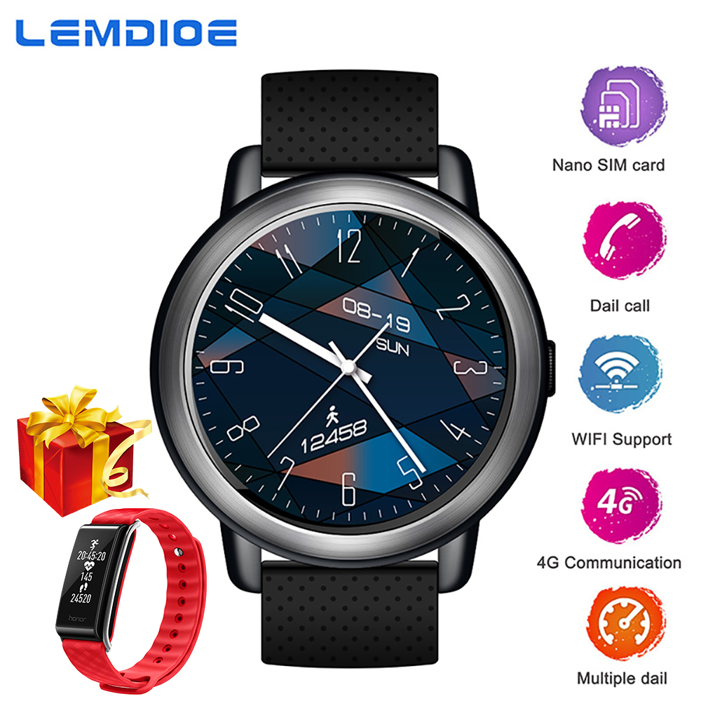 LEMDIOE 4G Montre Smart Watch 2G + 16G Android 7.1 Plein Écran Tactile MTK6739 Soutien SIM Carte WIFI GPS Smartwatch pour Hommes Femmes