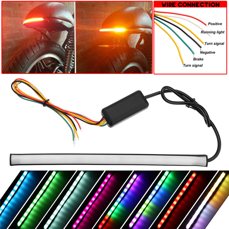 22CM Motorcycle Tail RGB Flexible Brake Strip Light  12V  Left/Right Trun Flowing Lamp With Control Box 3W 12LED Light Strip