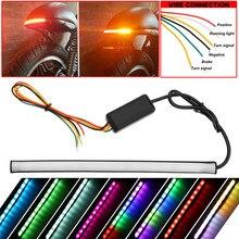 22 см мотоцикл хвост RGB гибкая Тормозная полоска свет 12 В влево/вправо Trun течет лампа с управление коробка 3 Вт 12LED светодиодные ленты
