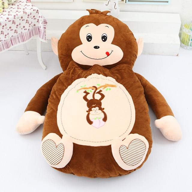 Dorimytrader Giant Cartoon Sleeping Bag Soft Plush Animals Beanbag Frog Bear Monkey Cat Bed Carpet Tatami Sofa Mat DY60497 3