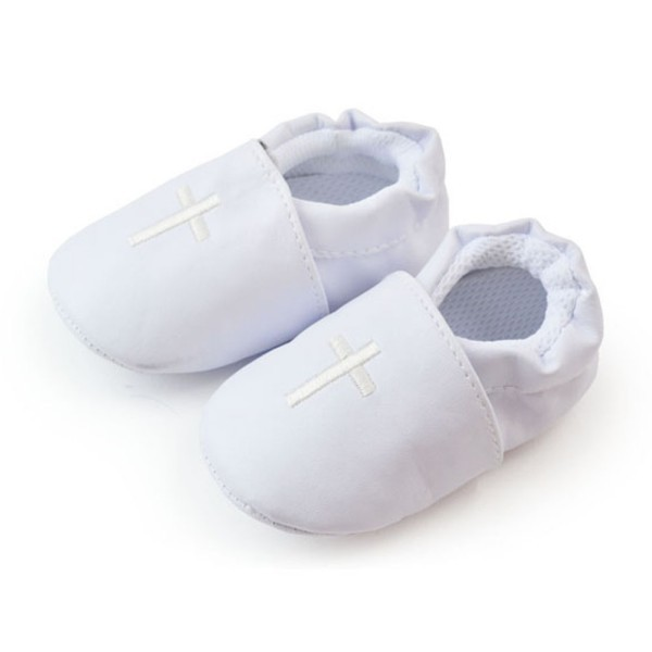 Baby Boy Girl First Walkers Cross Baptism Christening Shoes Church Soft Sole Leather Sho ...