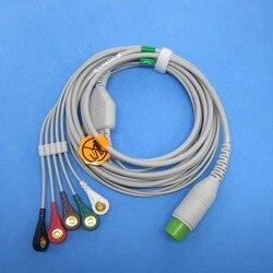 China m & b uma peça com 5 ligações snap cabo ecg para china m & b monitor paciente