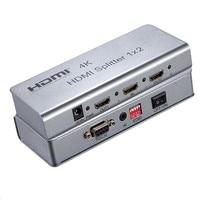 4 K HDMI splitter 1X2 HDMI 1.4 Portu 1 2 Out Anahtarı Dahili IR uzatma Destek HDCP1.4 EDID, RS232, 3840X2160/30 HZ