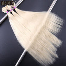 ANGIE Synthetic Straight Hair Bundles Hair Weave Extensions 16 18 20 Inches 3pieces/Lot Pure Color(China)