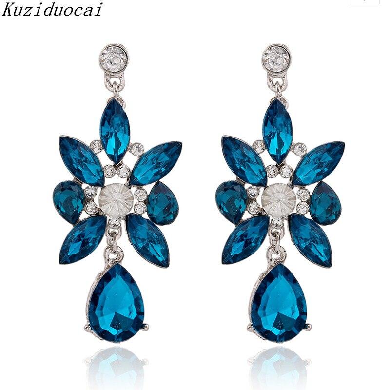 Kuziduocai New H ! Fashion Fine Jewelry Bohemian Blue Crystal Rhinestone Flowers Big Droplet Stud Earrings For Women Gift A-43