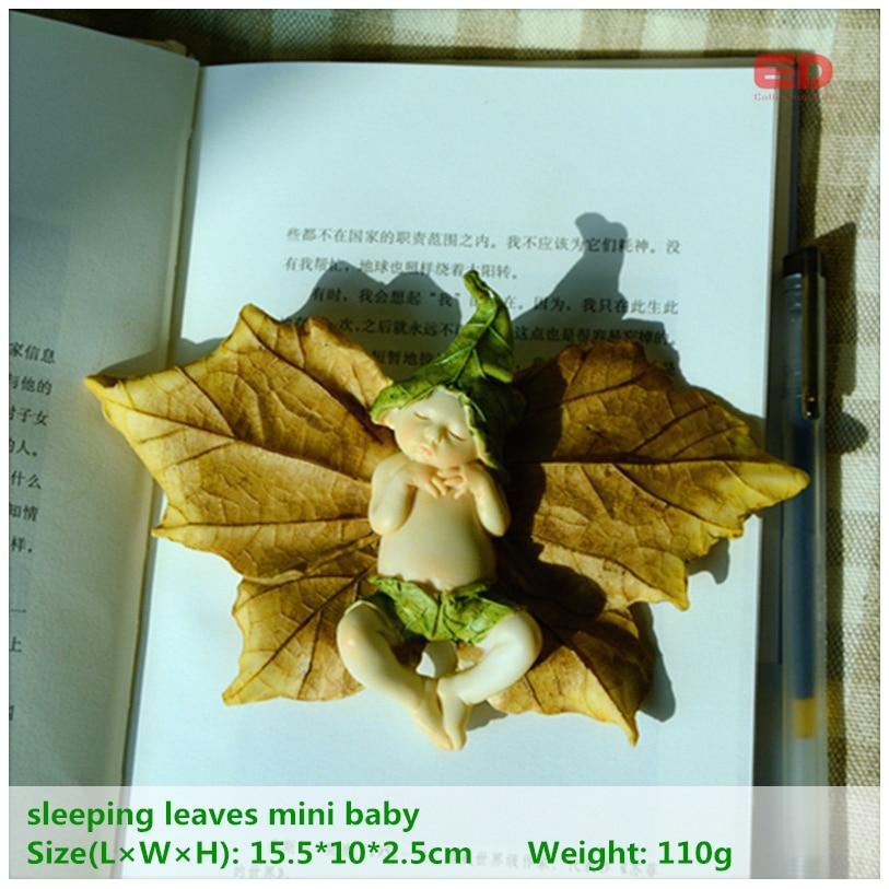 ED originální design roztomilý spací list mini víla anděl figurka krásná pryskyřice anděl panenka zahradní ozdoba vánoční ozdoby