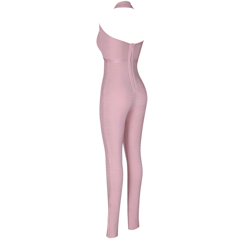 Ocstrade Bandage Jumpsuit 2019 New Arrive Nude Ribbed Rayon Bandage Jumpsuit Sexy Club Bodycon Jumpsuit Bandage Woman-in Jumpsuits from Women's Clothing    2