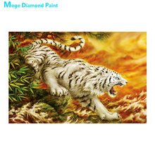White tiger animal Diamond Painting Full Round Decorative scenic New DIY Sticking Drill Cross Embroidery 5D Home Decoration