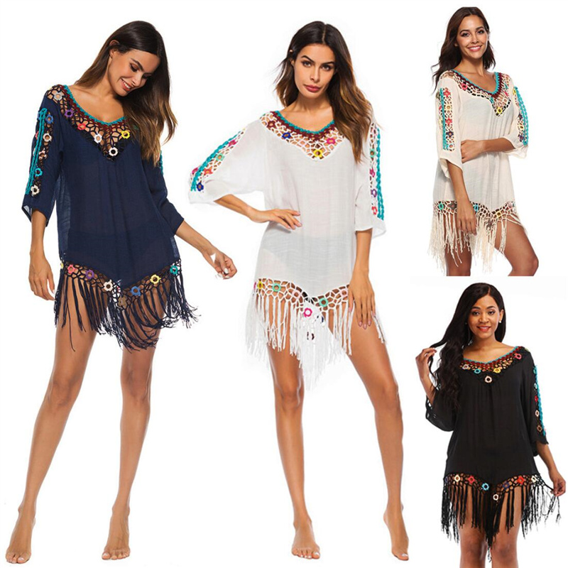 Summer Women Tunic Beach Cover Up Sexy Hollow Out Cold Shoulder Colorful Circles Three Quarter Sleeve Tassel Beach Mini Dress A8