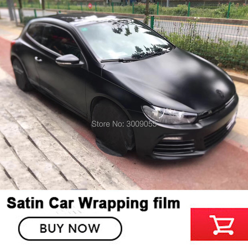 New arrival upgrade satin black wrapping film car vinyl wraps With Air Bubble Free Glue and Fabric upgraded