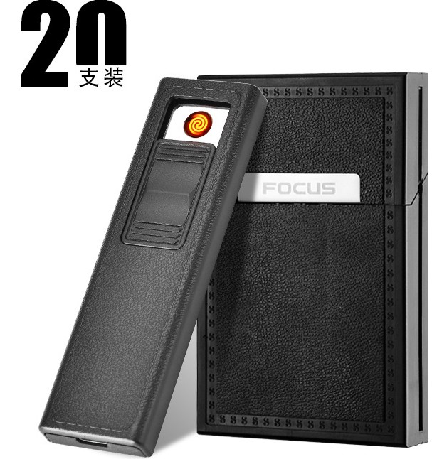 FOCUS Waterproof Plactic Full Pack 20 Regular Cigarettes Case/Box with Lighter USB Rechargeable Flameless Windproof Men's