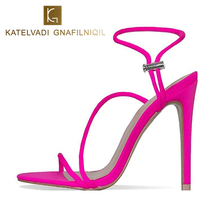 KATELVADI Summer Shoes Rosy Red Gladiator 11CM High Heels Party Sexy Sandals Wedding Female Shoe K-336