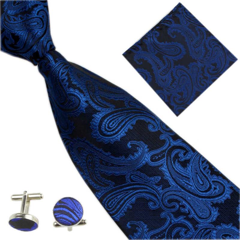 2019 الرجال التعادل الزفاف ربطة العنق مجموعات هدايا للرجال بيزلي الجاكار نمط المنديل أزرار أكمام الأسود Gravatas الذكور دعوى التعادل