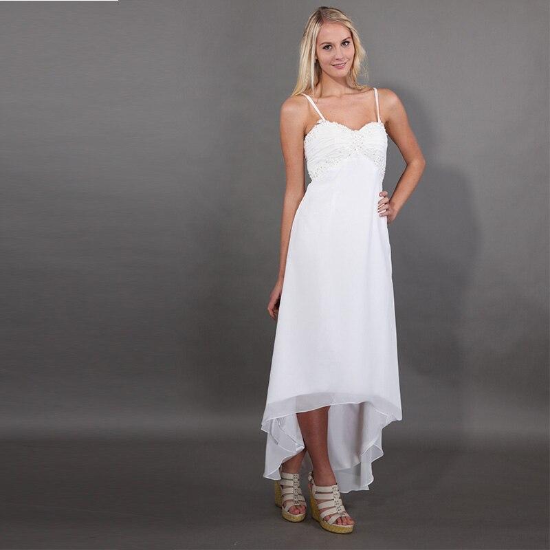 Simple Low Key Wedding Dresses: Simple Beach High Low Wedding Dresses Sweetheart Neckline