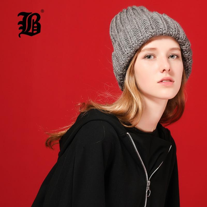 [FLB] Knitting wool ball   skullies     beanies   Casual streetwear Thick warm hat cap Women autumn winter 2020 cute   beanie   hat 17042