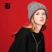 [FLB] Knitting wool ball skullies beanies Casual streetwear Thick warm hat cap Women autumn winter 2020 cute beanie 17042