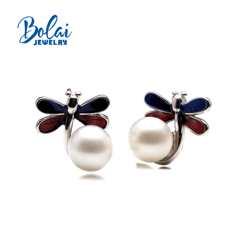 bolaijewelry,pearl stud earring round 7.0mm dragonfly simple design 925 sterling silver fine jewelry for girl birthday present