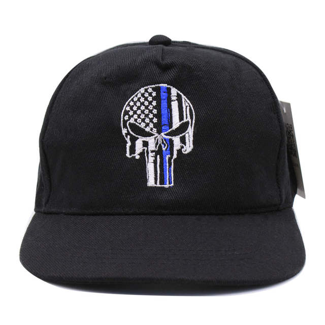 b94a40b744b placeholder Thin Blue Line Punisher Skull Fit Ball Cap hat Police Law  Enforcement USA flag tactical SWAT
