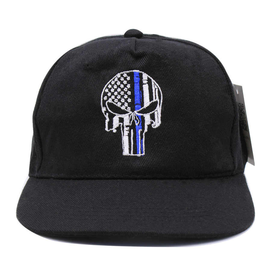 2a152651 ... Thin Blue Line Punisher Skull Fit Ball Cap hat Police Law Enforcement  USA flag tactical SWAT ...