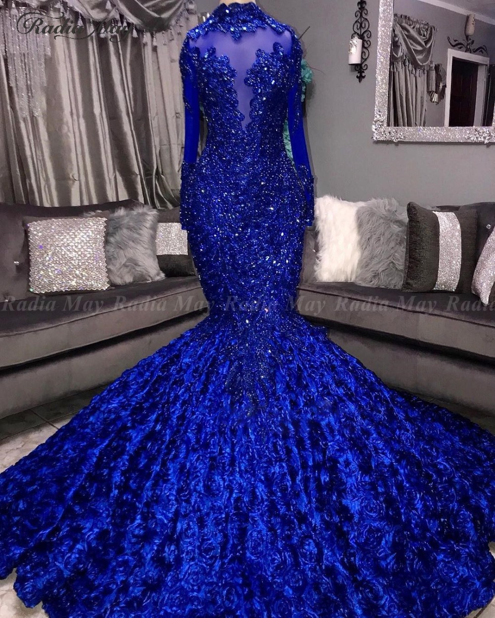 Royal Blue 3D Floral Mermaid Prom Dresses Black Girls High Neck Long Sleeves African Plus Size