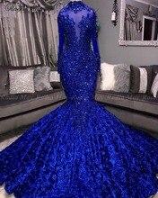 Royal Blue 3D Bloemen Mermaid Prom Dresses Zwarte Meisjes Hoge Hals Lange Mouwen Afrikaanse Plus Size Avond Formele Jurk Hof trein
