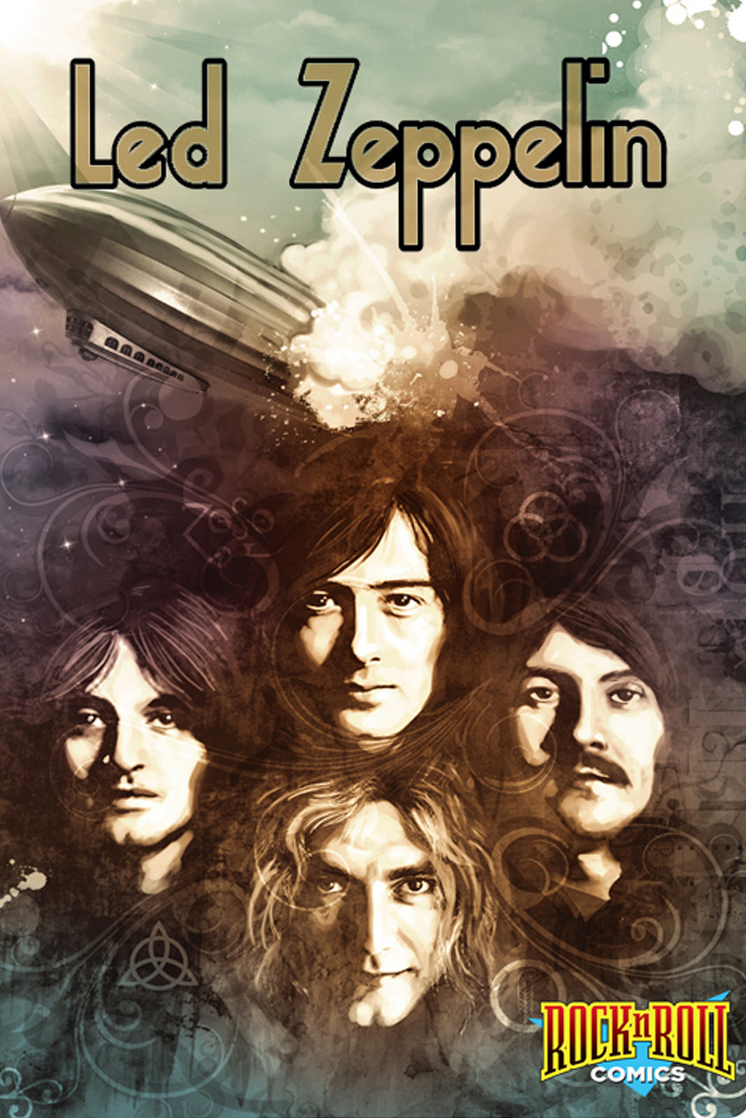 Vintage Rock N Roll Comics Concert Poster Led Zeppelin Band Classic Canvas Paintings Wall