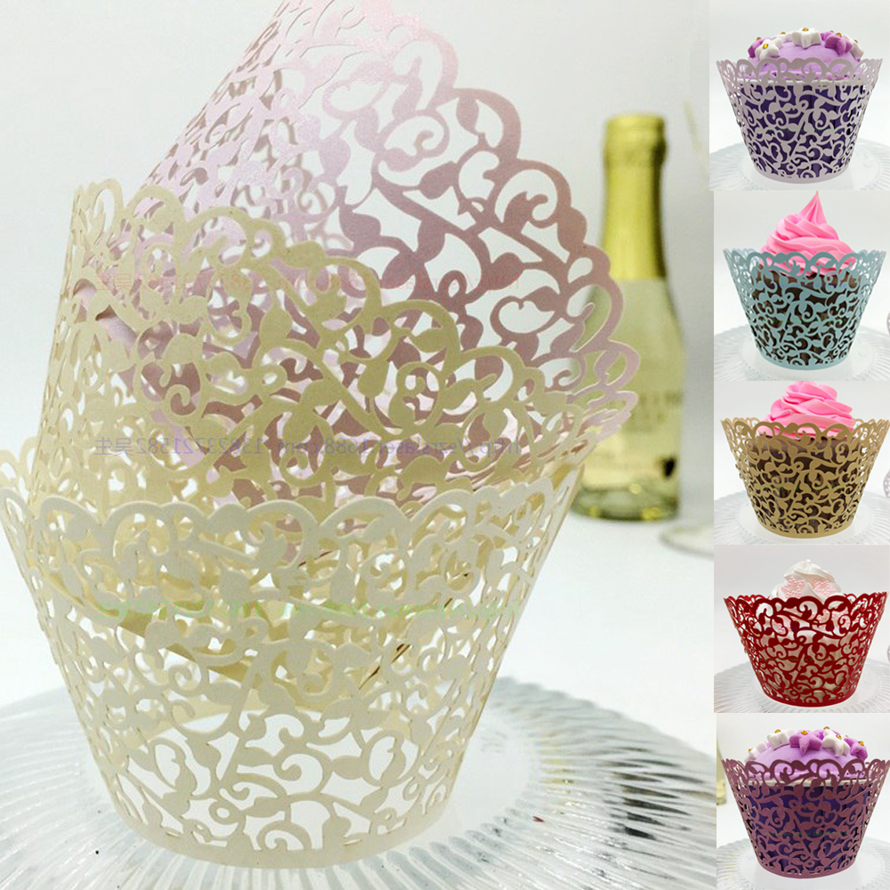 12 x Wedding Birthday Filigree Vine Cupcake Wrappers Wraps Cases Hot Sale Laser Cut Muffin Cupcake Wrappers Wraps Cases Cake