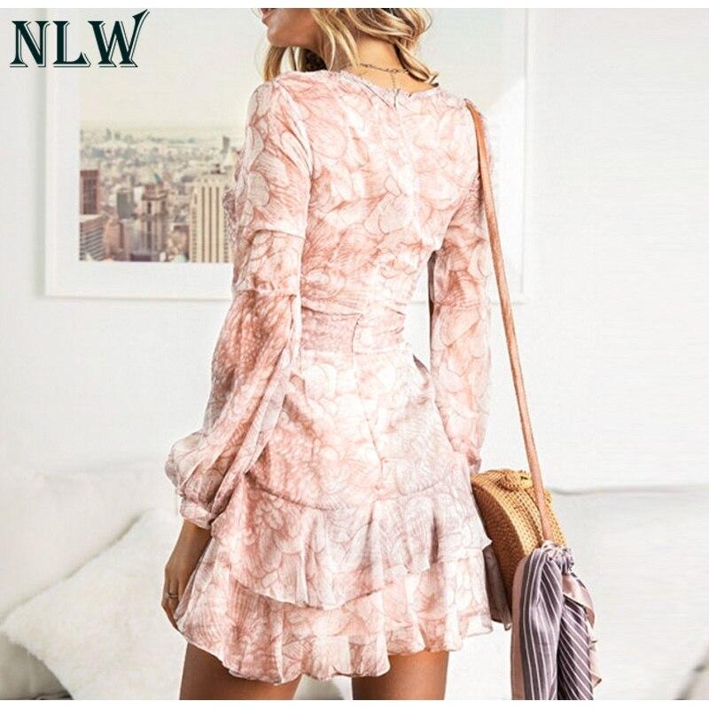 NLW 19 Long Sleeve Chiffon Women Dress Feminino Party Ruffle Dress Elegant Casual Vintage Autumn Winter Pink Dresses Vestidos 6