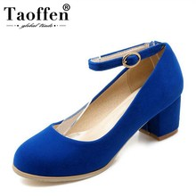 Taoffen Plus Size 30-47 Women High Heel Shoes Classic Round Toe Ankle Strap Pumps Fashion Wedding Simple Footwear