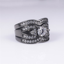 Fashion Black gold Simulated Diamond CZ ring finger set 3-in-1 new design jewelry for women Engagement Wedding ring gift SZ 5-10