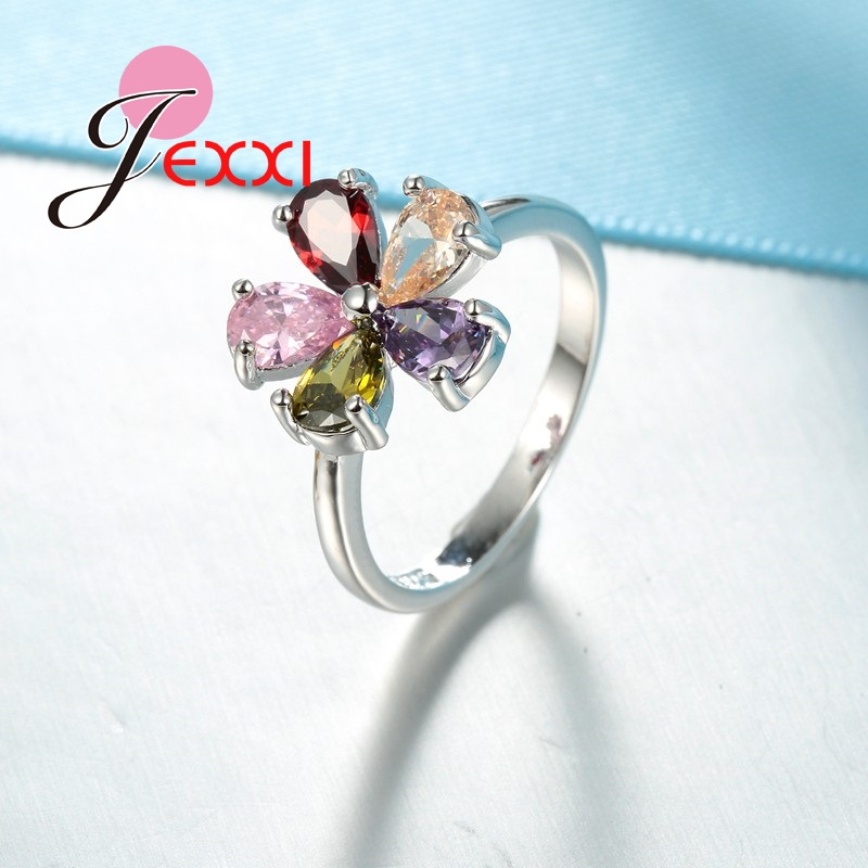 Beautiful Flower Shape Colorful Crystal 925 Sterling Silver Women Wedding Engagement Rings Fashion Party Finger Jewelry 4