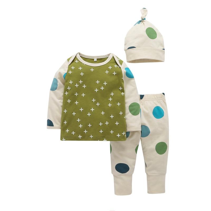 Baby Boy Girl 3PCS Clothing Long Sleeve Cotton T-shirt + Hat + Dot Trousers Newborn Baby Clothing Set