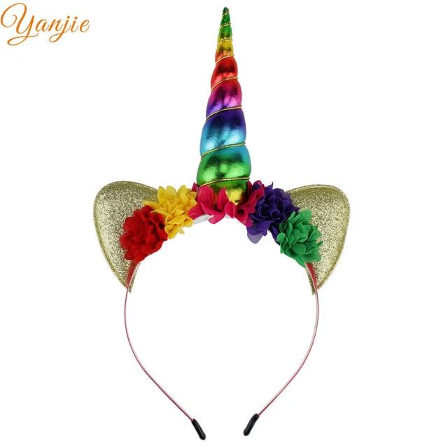 Rainbow Unicorn Headband For Girls Glitter Padded Unicorn Horn Hair Band 2019 Kids Birthday Party Women DIY Hair Accessories