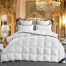 Edredón de edredón de 100% y plumón de ganso para cama, edredón de colcha de tamaño doble, color blanco, 2020