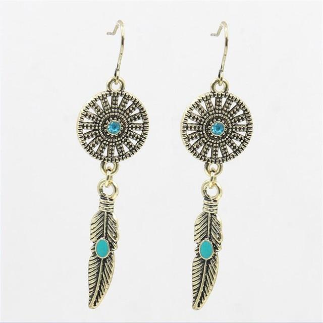 Bohemian Round Earring Women Vintage Leaf Dangle Pendant Drop Earrings For Club Factory Brincos Penntes