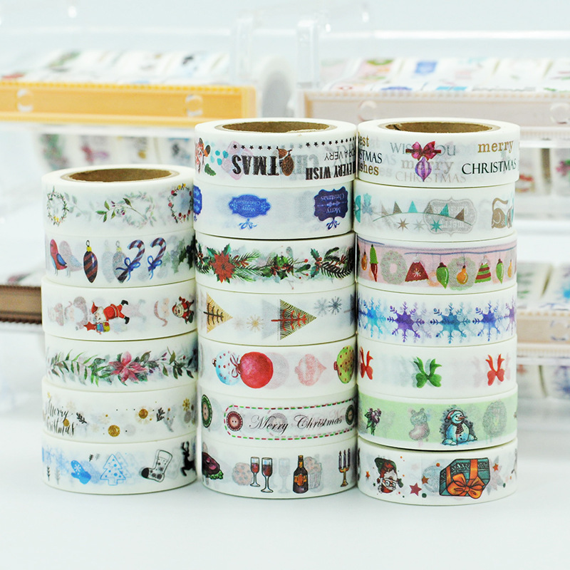 Planner 2018 Christmas Stickers Washi Tape Set Cute Balloon Santa Pattern tapes masking the Best gift for Children 20pcs christmas snowman pattern door stickers