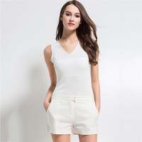 Cute White Knitted Tank Tops Women S Camis Vest V Neck Crop Tank Tops Blusa Solid