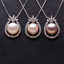 Fashion natural Freshwater 10-11mm black pearl pendant for women  fine bridal pearl pandents necklace chain цена и фото
