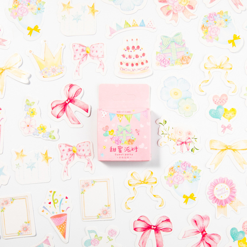 45pcs/pack Sweet Party Memo Stickers Pack Posted It Kawaii Planner Scrapbooking Stickers Stationery Escolar School Supplies