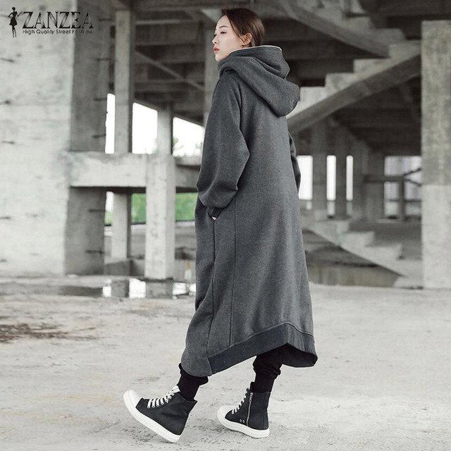 Women Hooded Coats Jackets Long Sleeve Zip Long Winter Outerwear