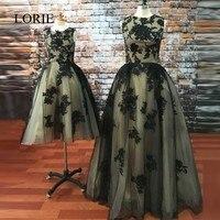 Robe De Soiree 2017 ארוך אם ובתה שמלות הערב שחורה תחרת שמלות נשף אפליקציות עבור מסיבת החתונה הרשמית