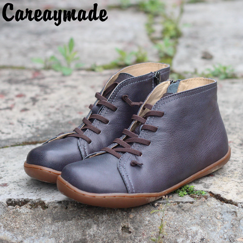 Retro-polished hand-made leather flat-bottomed leisure boots for women in autumn and winter