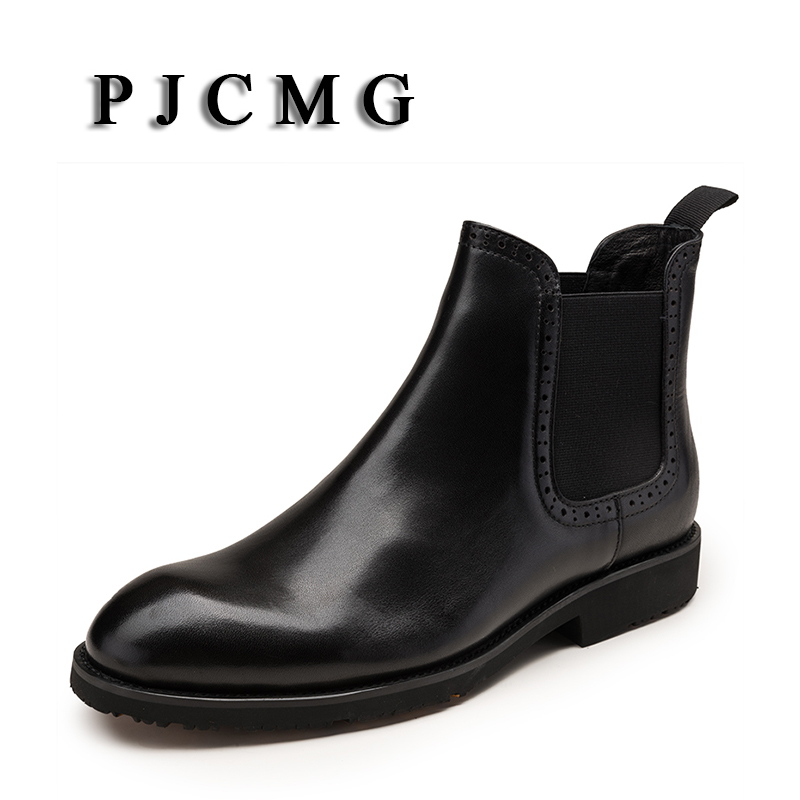 PJCMG New Fashion High Quality British Style Genuine Leather Slip-On Pointed Toe Men Ankle Casual Oxford Boots slip on men casual shoes male sandal new fashion genuine leather low heel high quality brand korean style thick bottom plus size