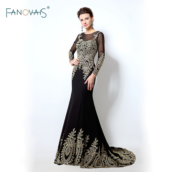 In Stock Black Mermaid Evening Dresses Long Sleeves Gold Applique Lace Formal Dresses Evening Gown  Lycra Vestido de Fiesta IS3