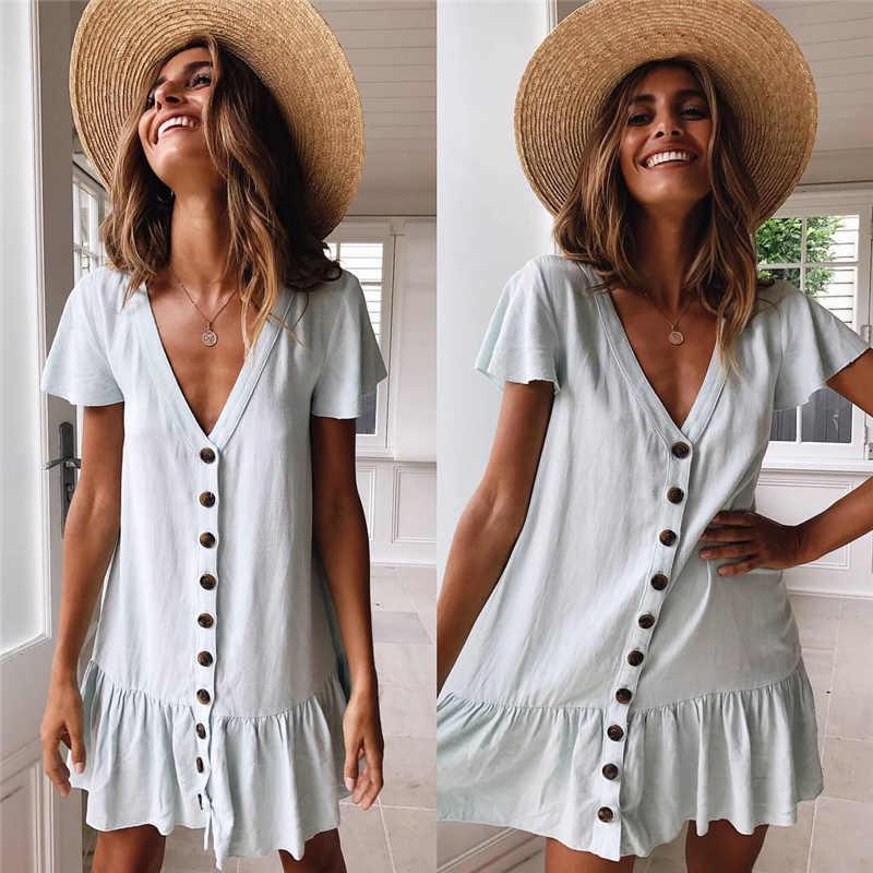 Solide décontracté Mini robe Sexy col en v à manches courtes à volants boutons femmes 2019 nouvelles robes d'été en coton blanc robe femme Vestidos