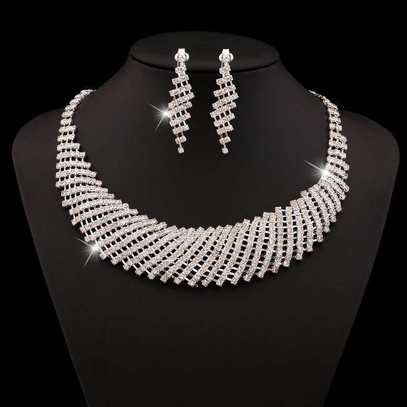 (1) - Bijoux De Mariage Luxueux, Goutte Boucle D'oreille Collier Ensemble Autriche Cristal,