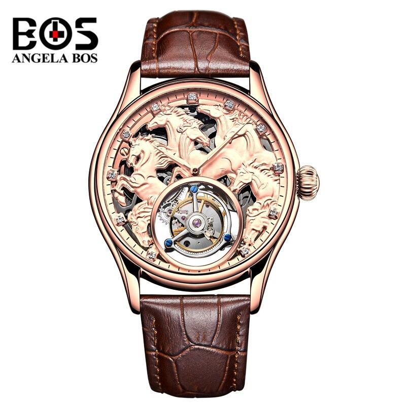ANGELA BOS marque de luxe 3D cheval montre mécanique hommes étanche Original Tourbillon montre-bracelet automatique homme or Platina horloge