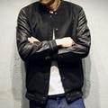Новый Университетский Куртки Мужчины Хлопок Пу Кожа Шить Бейсбол Куртки Осень Зима Мода Одной Кнопки Мужская Тонкий Пальто 5XL