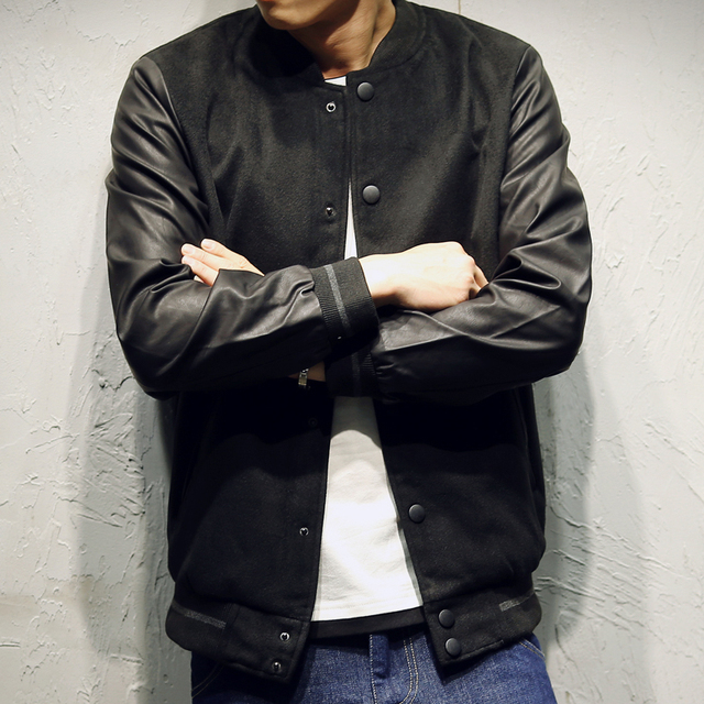 40e37a05acd New Varsity Jacket Men Cotton Pu Leather Stitching Baseball Jackets Autumn  Winter Fashion Single Button Mens Slim Coats 5XL